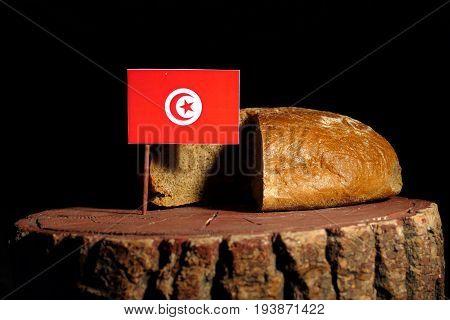 Tunisian Flag On A Stump With Bread Isolated