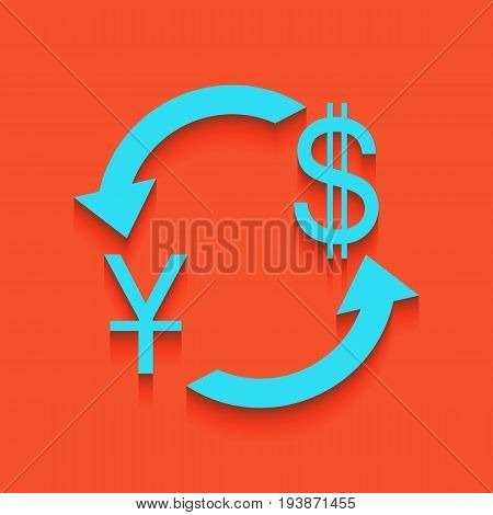 Currency exchange sign. China Yuan and US Dollar. Vector. Whitish icon on brick wall as background.