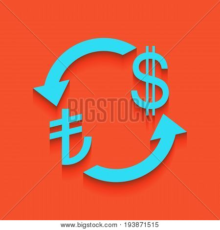 Currency exchange sign. Turkey Lira and US Dollar. Vector. Whitish icon on brick wall as background.