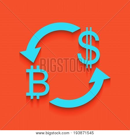 Currency exchange sign. Bitcoin and US Dollar. Vector. Whitish icon on brick wall as background.