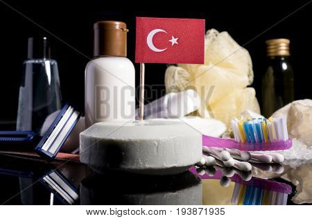 Turkish Flag In The Soap With All The Products For The People Hygiene