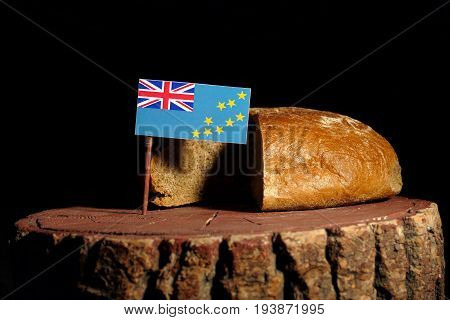 Tuvalu Flag On A Stump With Bread Isolated