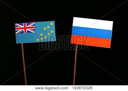 Tuvalu Flag With Russian Flag Isolated On Black Background