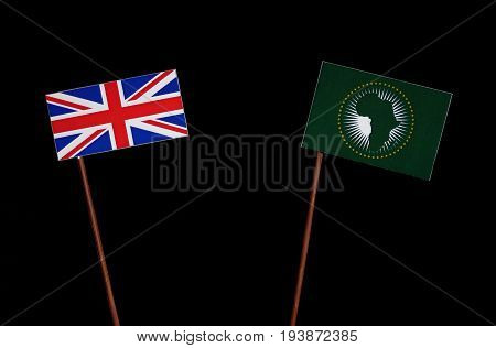 British Flag With African Union Flag Isolated On Black Background