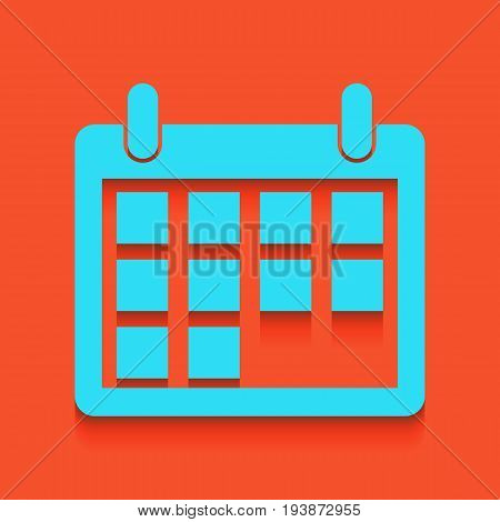 Calendar sign illustration. Vector. Whitish icon on brick wall as background.
