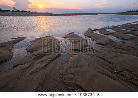 Beautiful sky and sunset at dusk, East Woody beach of Nhulunbuy, Northern Territory state of Australia.