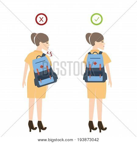 girl backpack correct posture position good for back pain vector