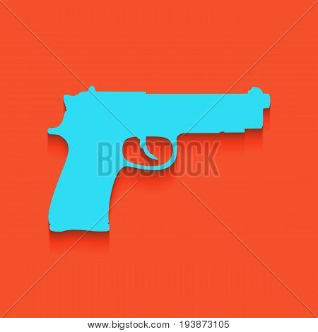 Gun sign illustration. Vector. Whitish icon on brick wall as background.