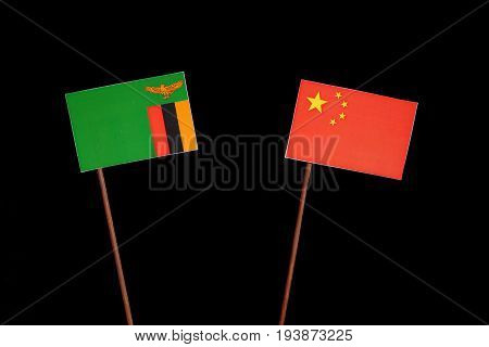 Zambia Flag With Chinese Flag Isolated On Black Background