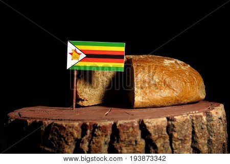 Zimbabwe Flag On A Stump With Bread Isolated