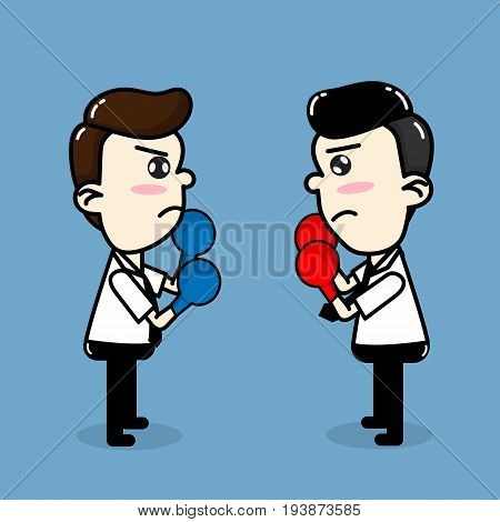 Employees compete , Business man boxing fighting vector cartoon business design.