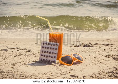 Vintage Photo, Medical Pills, Carrot Juice And Sunglasses At Beach, Vitamin A And Beautiful, Lasting
