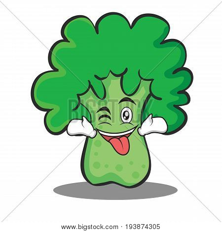 Tongue out with wink broccoli chracter cartoon style vector art