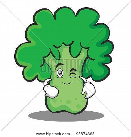 Wink broccoli character cartoon style vector illustration