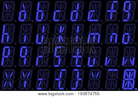 Digital font from small letters on blue alphanumeric LED display isolated on black background