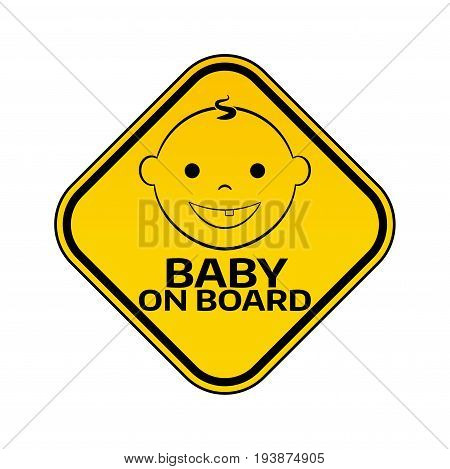 Baby On Board Sign With Child Boy Smiling Face Silhouette In Yellow Rhombus On A White Background. C