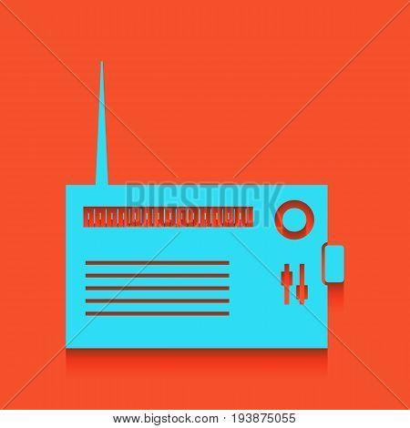 Radio sign illustration. Vector. Whitish icon on brick wall as background.
