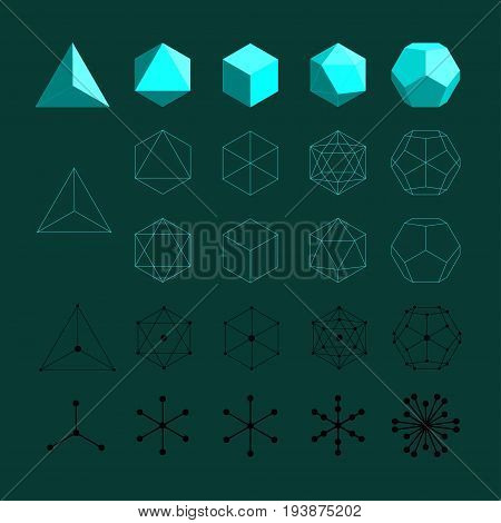 Platonic solids. Tetrahedron, Octahedron, Cube, Icosahedron and Octahedron flat design illustrations, thin line art. Coordination polyhedra of atoms, molecules - balls and stisks diagram. Vector illustration.