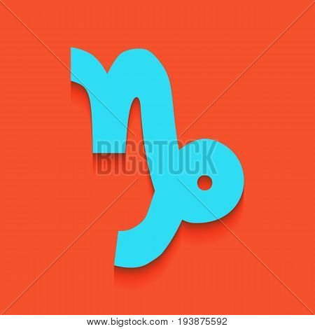 Capricorn sign illustration. Vector. Whitish icon on brick wall as background.