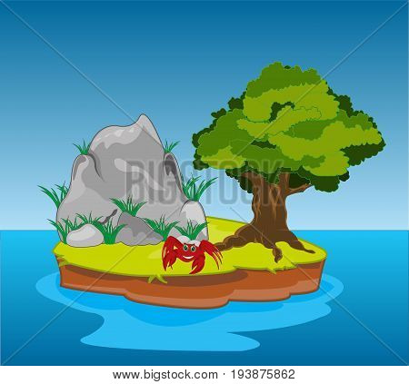 Small desert island with tree and stone in ocean