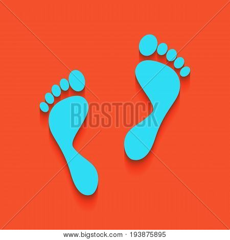 Foot prints sign. Vector. Whitish icon on brick wall as background.