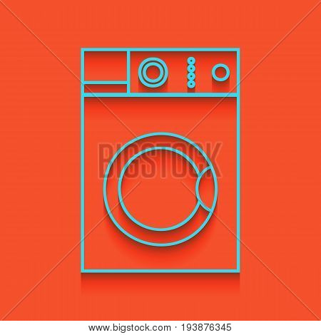 Washing machine sign. Vector. Whitish icon on brick wall as background.