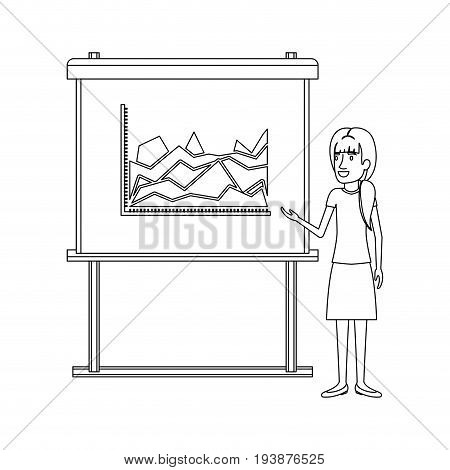 monochrome silhouette of businesswoman with ponytail hairstyle making presentation vector illustration