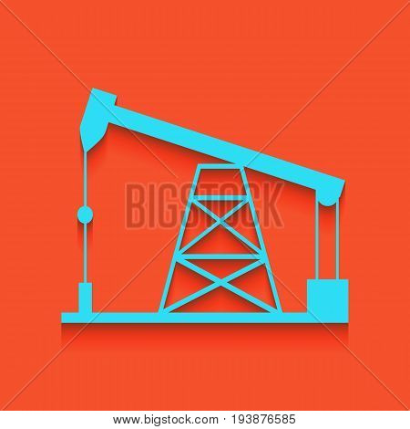 Oil drilling rig sign. Vector. Whitish icon on brick wall as background.