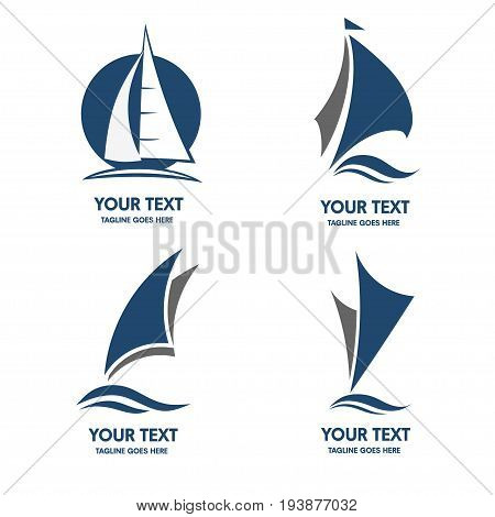 elegant set of Sailing boat logo vector, sailing boat sport logo