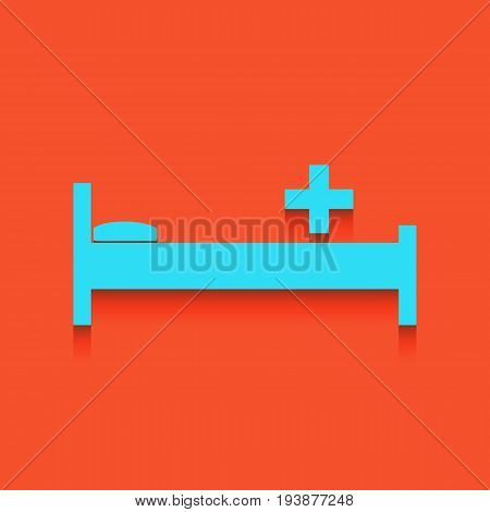 Hospital sign illustration. Vector. Whitish icon on brick wall as background.