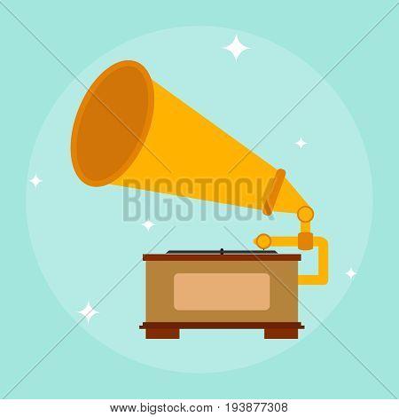 Retro gramophone gramophone icon listen to music. Flat design vector illustration vector.