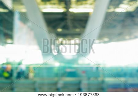 Blurred image of airport canopy roof and truss