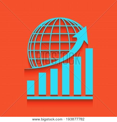 Growing graph with earth. Vector. Whitish icon on brick wall as background.