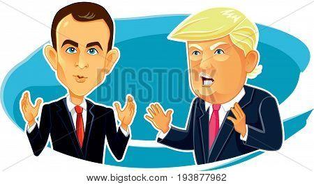 June 4, 2017 Emmanuel Macron Donald Trump Vector Caricature