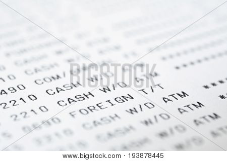 Close up of text on bank statement can be used as financial background