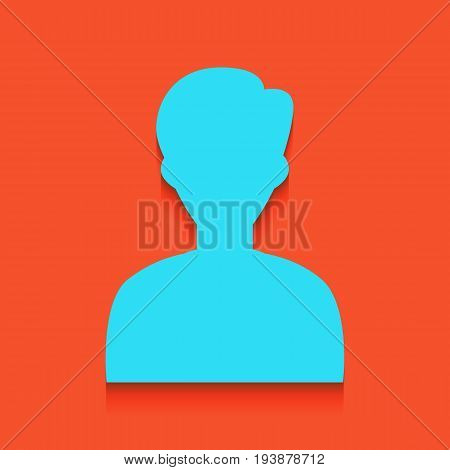 User avatar illustration. Anonymous sign. Vector. Whitish icon on brick wall as background.