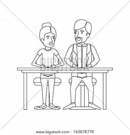 monochrome silhouette of teamwork of woman and man sitting in desk and her with collected hair and him in casual clothes with van dyke beard vector illustration