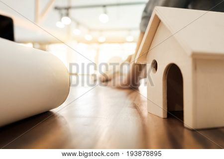 Engineer Of Architect Starting Draw A House Blueprint On The Desk In The Office At Construction Work