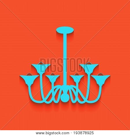 Chandelier simple sign. Vector. Whitish icon on brick wall as background.