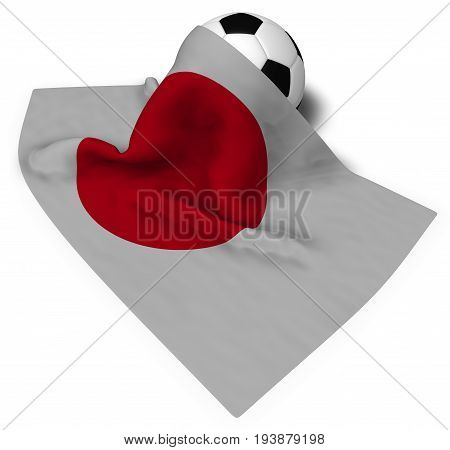 soccer ball and flag of japan - 3d rendering