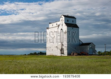 Early Morning Wooden Grain Elevator in Canadian Prairie