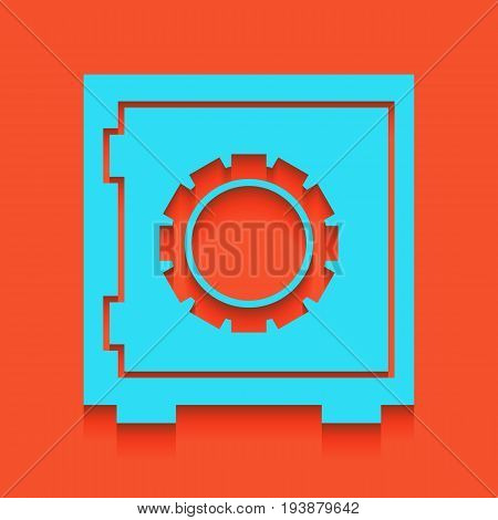 Safe sign illustration, crib, vault, lock box. Vector. Whitish icon on brick wall as background.