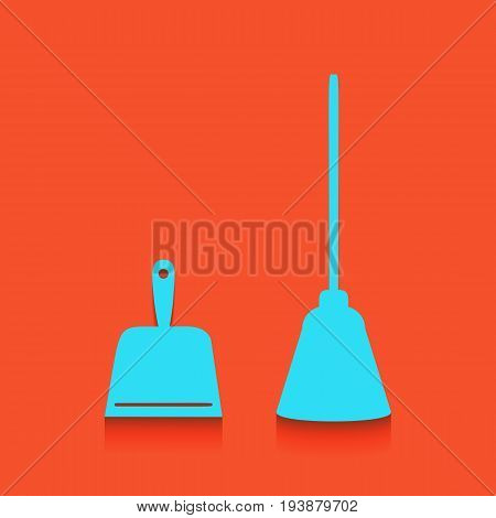 Dustpan vector sign. Scoop for cleaning garbage housework dustpan equipment. Vector. Whitish icon on brick wall as background.