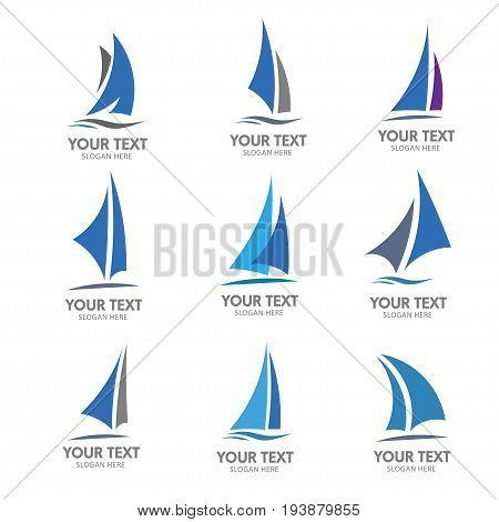 elegant set of Sailing boat logo vector, creative simple Sailing boat logo vector