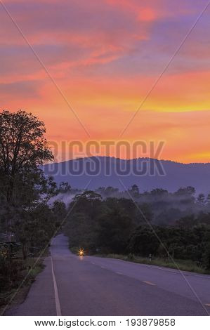 Rural scene with Mountain Landscape Sunset and cloud