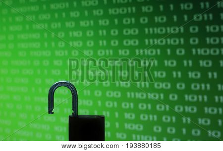 Unhacked safe from virus and ransomware. Unlock in front of Green binary computer code screen digital concept background on green Screen.