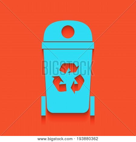 Trashcan sign illustration. Vector. Whitish icon on brick wall as background.