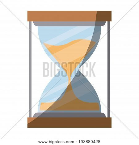 colorful silhouette of sand clock with half shadow vector illustration