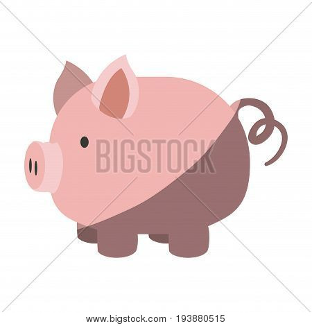 colorful silhouette of piggy bank with half shadow vector illustration