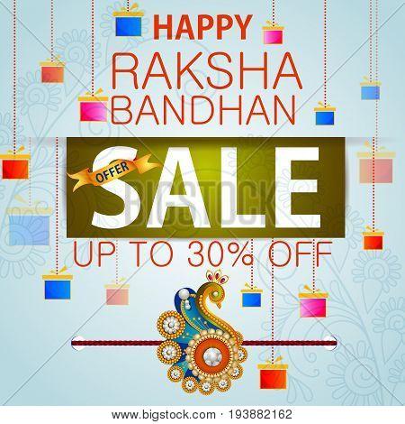 easy to edit vector illustration of Rakhi Shopping Sale background for Indian festival Raksha bandhan celebration